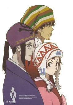 Mugen, Jin, and Fuu from Samurai Champloo, wearing funny hats. :3 I'm very happy about that