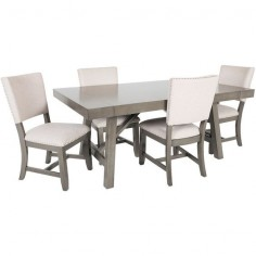 Omaha Grey Trestle 5 Piece Dining Set
