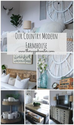 Our Country modern Farmhouse Tour. See our DIY & rustic furniture in every room. Fixer Upper styled rooms