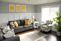 Shades of grey living room. Swap out the yellow for a turquoise or purple and I'm in love.