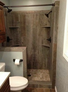 Someday I will build this! Tile designed to look like old barn wood.