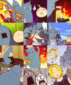 The many funny faces of Ed and Al (Fullmetal Alchemist)
