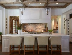 Traditional Off-White Kitchen with Brick Backsplash