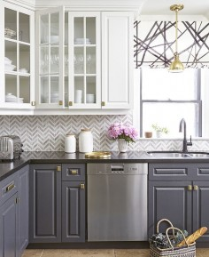 White and Grey cabinets | Trending Now: Kitchens With Contrasting Cabinets | House & Home