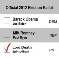 Who else would vote for Death? Uh, me. I cosplay him XD