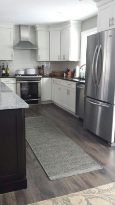 Before and after kitchen on GardenWeb. Wall is BM Rockport Gray. | For the Home t | Floors, Kitchens and Gray