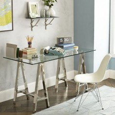 Metal and glass trestle desk from West Elm - Decoist