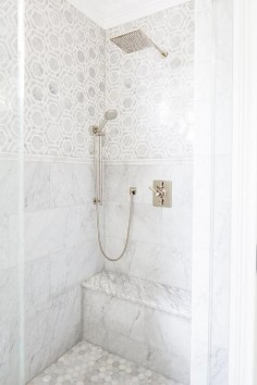 Shower with Marble Hexagon Tiles